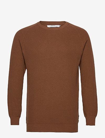 Sweater Kalmar - knitted round necks - brown
