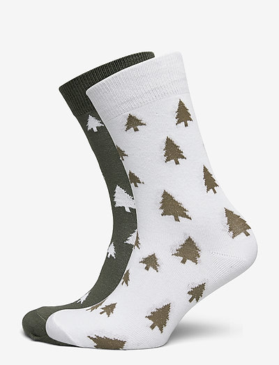 Socks Sigtuna 2-pack Trees White and Leaf Green - chaussettes régulières - golden yellow