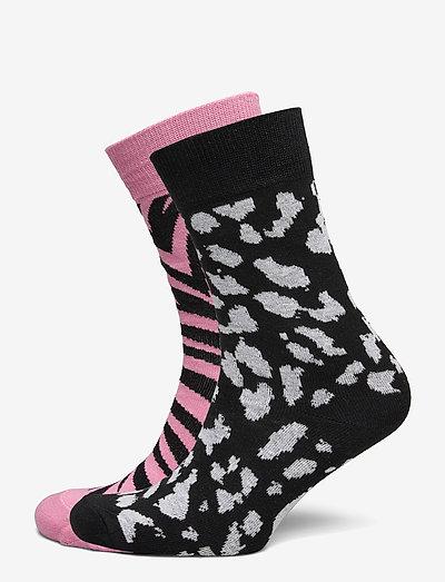 Socks Sigtuna 2-pack Animal Pattern Pink and Lynx Black - chaussettes régulières - black