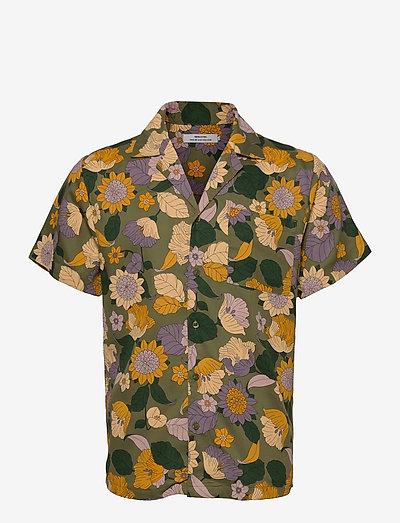 Shirt Short Sleeve Marstrand Seventies Floral Green - chemises à carreaux - green