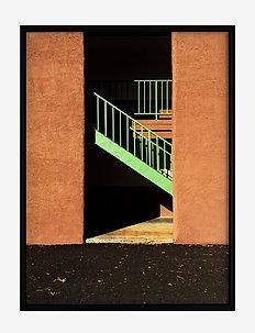 Poster Staircase in Sunlight - home decor - orange