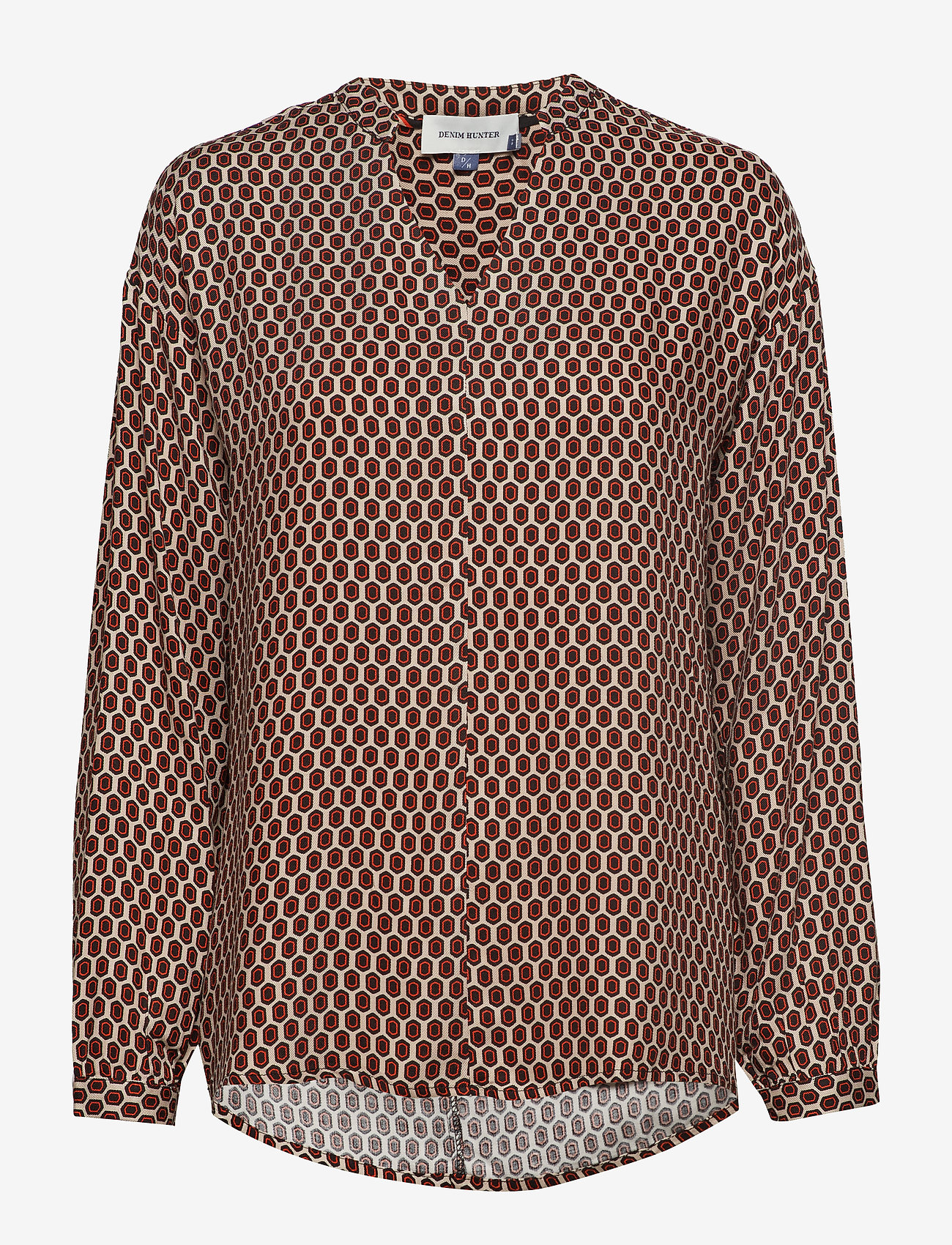 Denim Hunter - DHPea Printed Blouse - pitkähihaiset puserot - oxford tan print