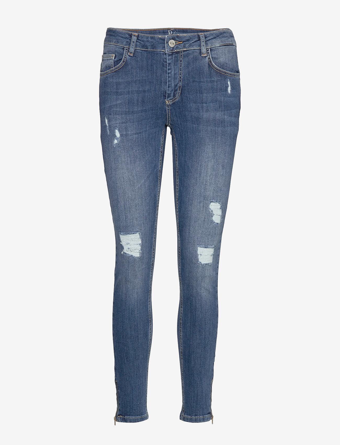 Denim Hunter - 40 THE CELINAZIP TORN CUSTOM - skinny jeans - medium blue vintage wash - 0