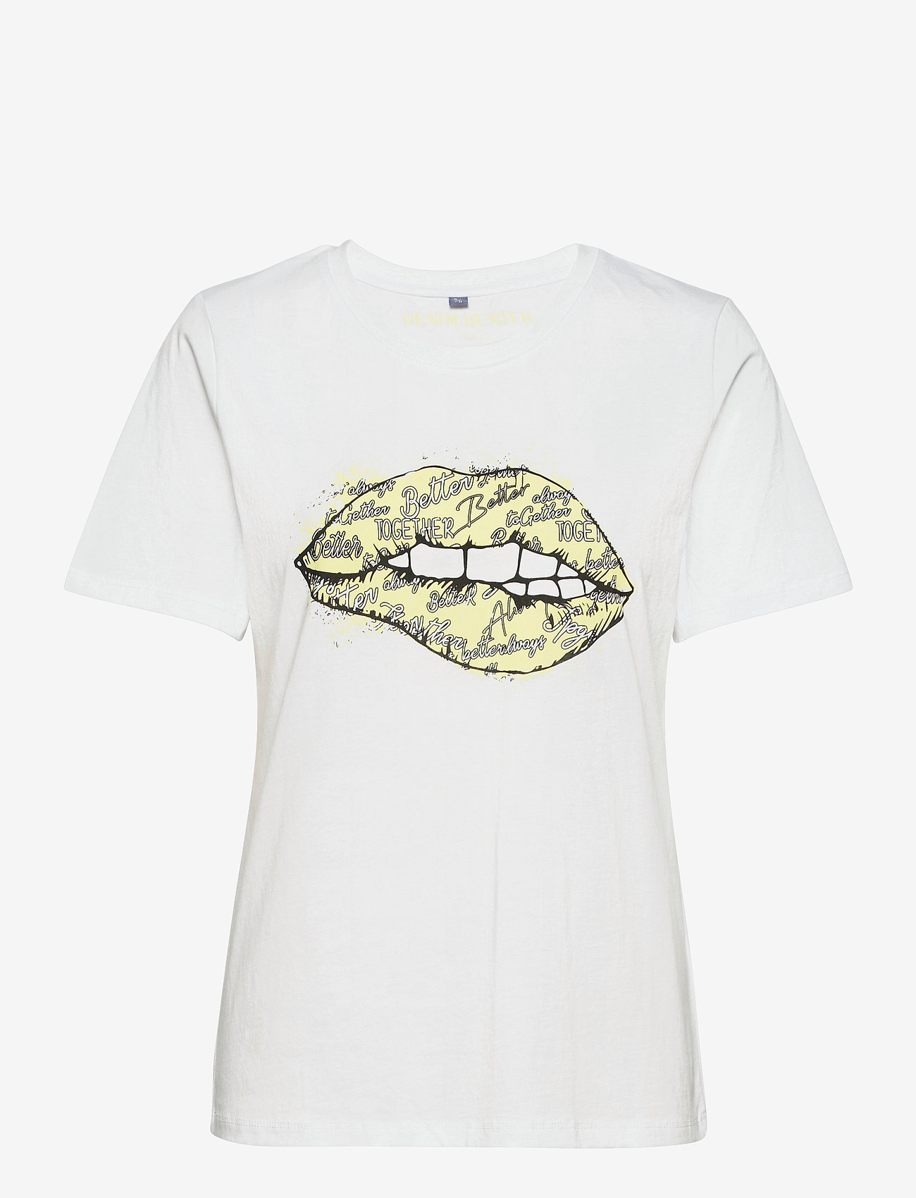 Denim Hunter - DHKiss T-shirt - t-shirts - bright white / yellow print - 1