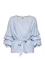 Alexia Wrap Blouse - LIGHT BLUE STRIPED