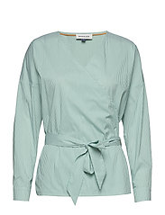 Alexia Wrap Shirt - GRASS STRIPED