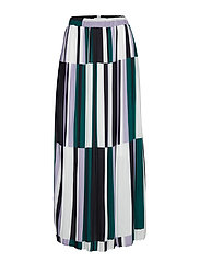 DHMartes Pleated Maxi Skirt Pleated - BLACK PRINTED