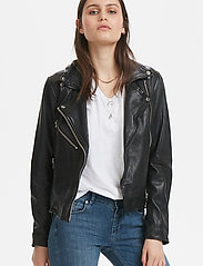 Denim Hunter - 02 THE LEATHER JACKET - skinnjackor - black - 0