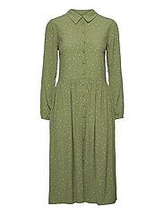 DHSandy Dress - OIL GREEN DOT PRINT
