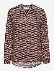 Denim Hunter - DHPea Printed Blouse - pitkähihaiset puserot - oxford tan print - 0