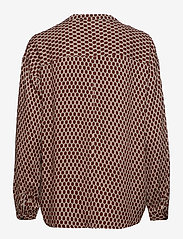 Denim Hunter - DHPea Printed Blouse - pitkähihaiset puserot - oxford tan print - 1