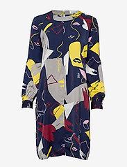Denim Hunter - DHFace Short Dress - midimekot - black iris print - 0