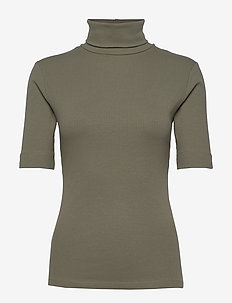DHZoe Rollneck Blouse - knitted tops & t-shirts - dusty olive