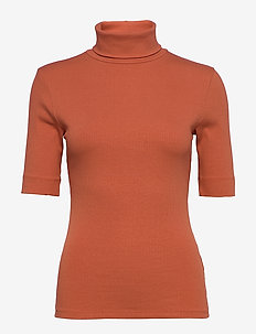 DHZoe Rollneck Blouse - knitted tops & t-shirts - redwood