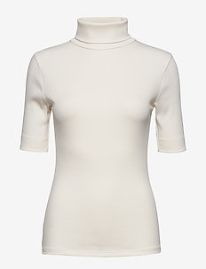 DHZoe Rollneck Blouse - knitted tops & t-shirts - whisper white
