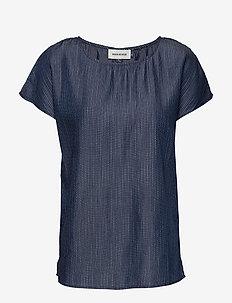 DHElma sørine blouse - blouses med korte mouwen - blue/white stripes