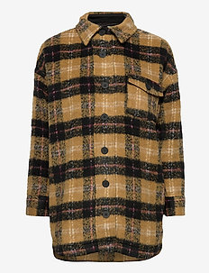DHMellie long Jacket - wool jackets - mustard checks