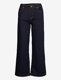 DHTenna High Flared Custom - pantalons - dark blue un-wash