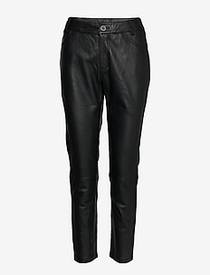 24 THE LEATHER PANT - leer broeken - black