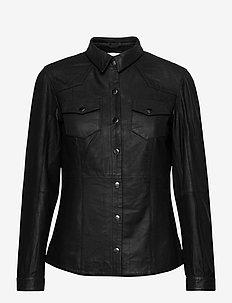 26 THE LEATHER SHIRT - langærmede skjorter - black
