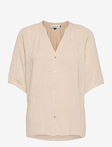 DHHannah Shirt - short-sleeved blouses - oatmeal