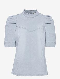 DHVitus Striped Denim Blouse - kortærmede bluser - light blue wash