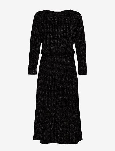 DHKick Batsleeve Dress - midi kjoler - black colour lurex