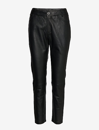 24 THE LEATHER PANT - pantalons en cuir - black