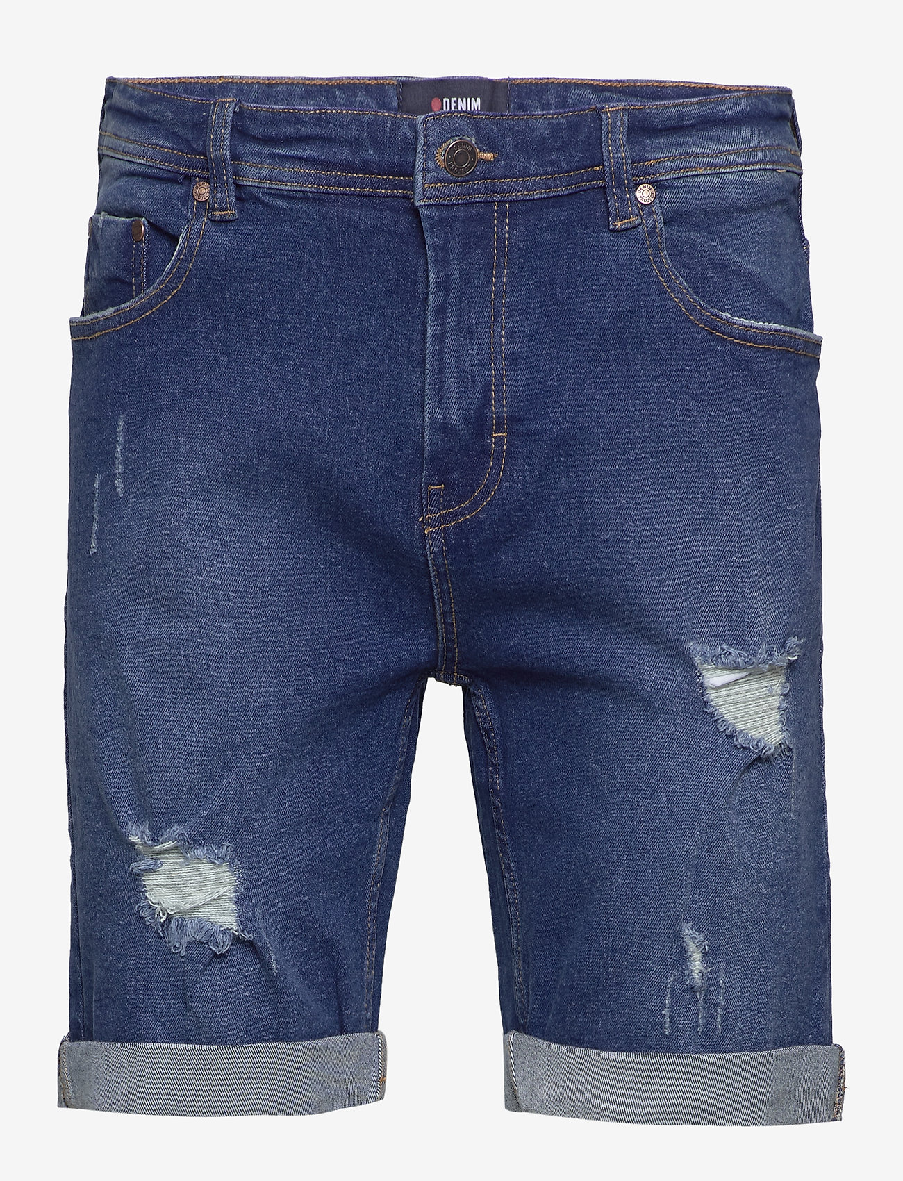 Denim project - Mr. Orange - farkkushortsit - dark blue destroy - 0