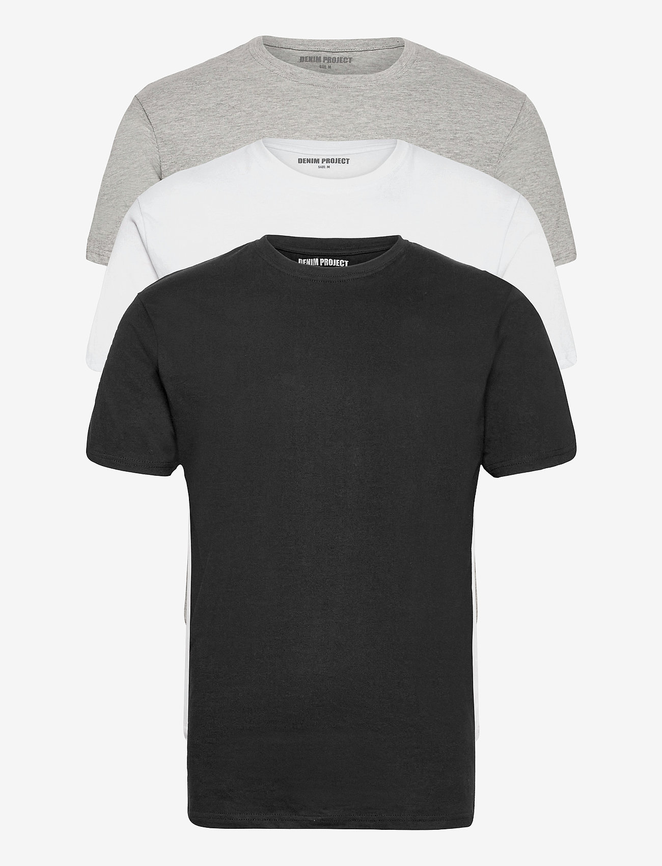 Denim project - 3 PACK T-SHIRTS - basic t-shirts - black/white/light grey melange - 0