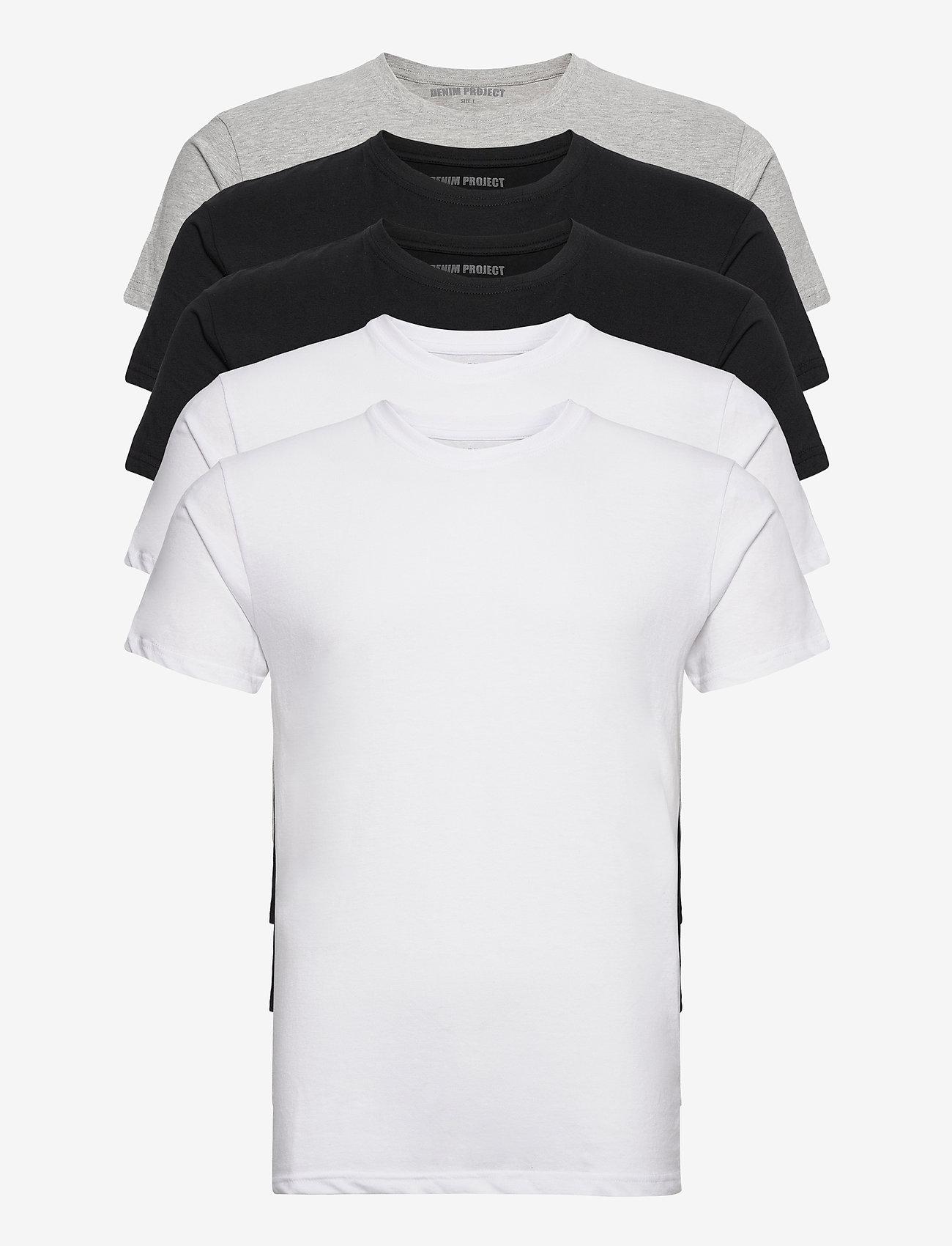 Denim project - 5 PACK T-SHIRTS - basic t-shirts - black/white/light grey melange - 0