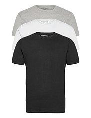 3 PACK T-SHIRTS - BLACK/WHITE/LIGHT GREY MELANGE
