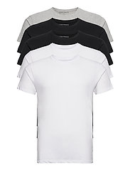 5 PACK T-SHIRTS - BLACK/WHITE/LIGHT GREY MELANGE