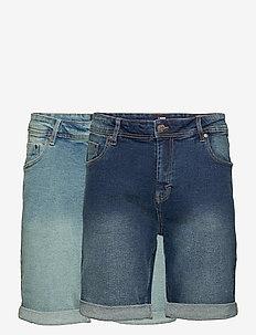 Mr Orange 2 Pack - denim shorts - 044 light blue/ 043 dark blue