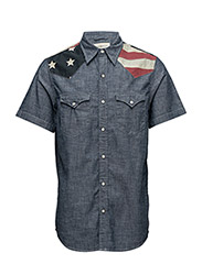 SS FLAG CHAMBRAY WESTERN SHIRT - RINSE WASH