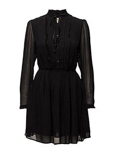 VELVET-TRIM SHEER DRESS - POLO BLACK