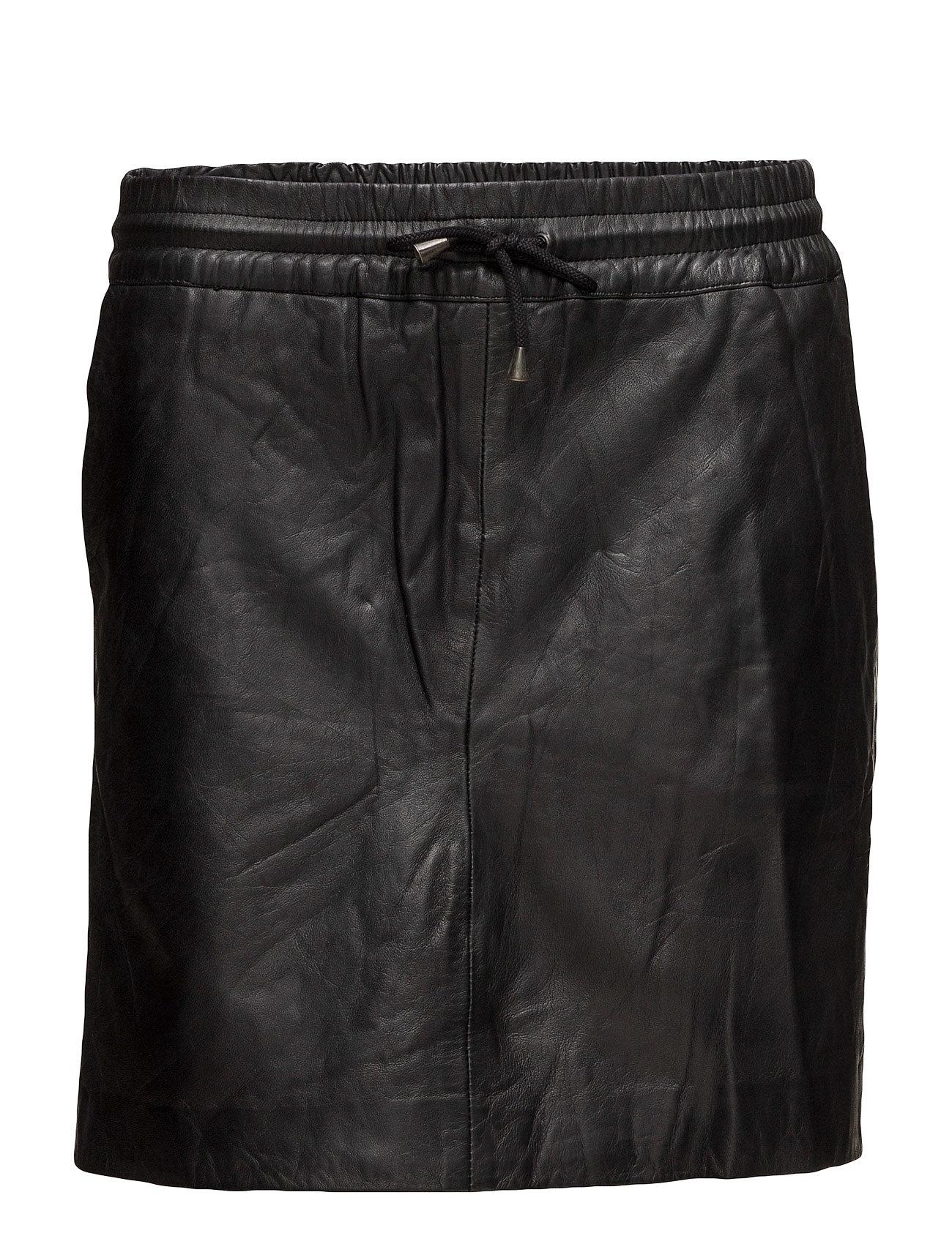DEPECHE Skirt with smock waist - BLACK
