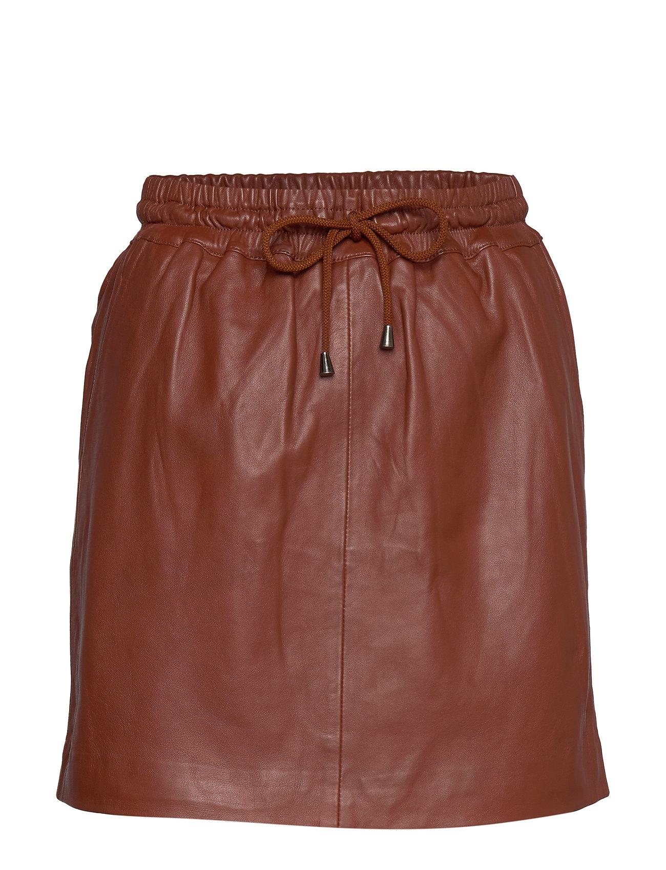 DEPECHE Skirt with smock waist - SMOKED PAPRIKA