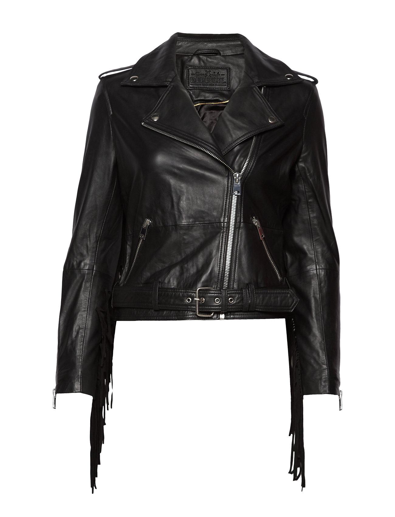 DEPECHE Biker jacket w/fringes - BLACK