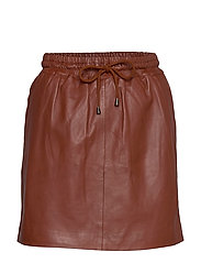 Skirt with smock waist - SMOKED PAPRIKA