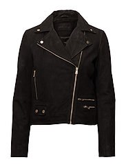 Biker jacket in suede - Black