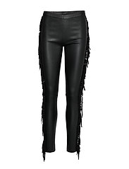 leggings w/fringes - BLACK
