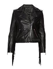 Biker jacket w/fringes - BLACK
