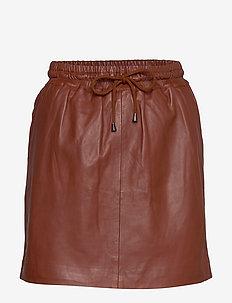 Skirt with smock waist - SMOKED PAPRIKA