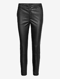 Stretch pant 7/8 length - spodnie skórzane - black