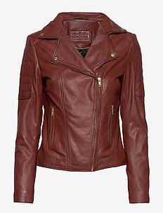 Biker jacket - leather jackets - smoked paprika
