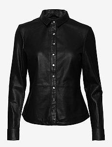 Shirt w/buttons - langærmede skjorter - black