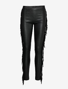 leggings w/fringes - BLACK