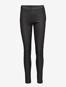 Pants - læderbukser - black