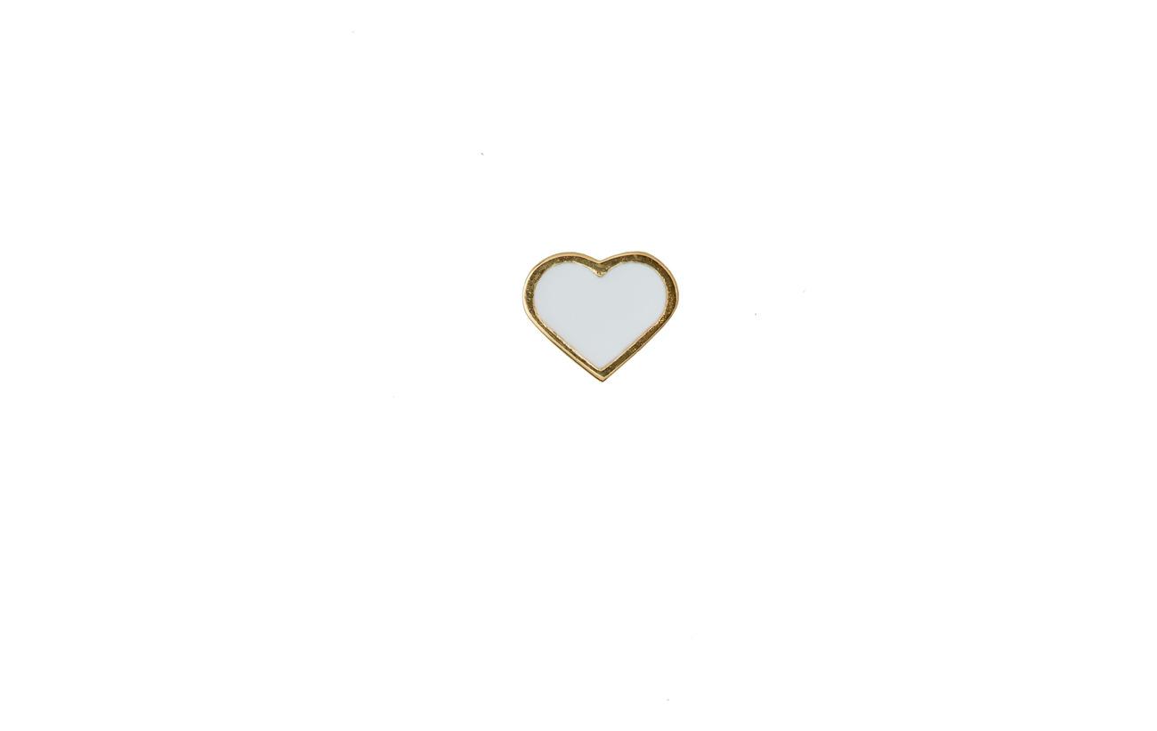 Design Letters ENAMEL HEART CHARM, GOLD - WHITE